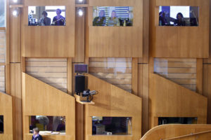 students from Heriot-Watt University practice simultaneous translation during a session of the Scottish parliament, in Edinburgh.  08 December 2016. Pic-Andrew Cowan/Scottish Parliament
